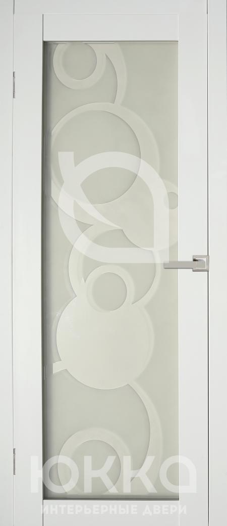 Межкомнатная дверь А4 - Белая стекло матовое с рисунком
